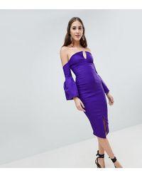 Vesper - Bardot Bell Sleeve Pencil Dress - Lyst