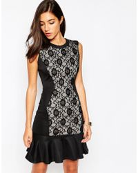 Little Black Dress - Dakota Pep Hem Dress With Lace Panel - Lyst