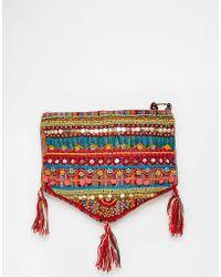 Raga - Embroidered Shoulder Bag With Tassels - Lyst