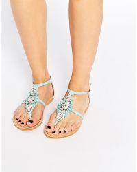 31d31eebd3b Forever Unique - Flavia Embellished Flat Sandals - Mint - Lyst
