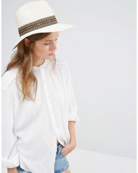 Liquorish - Wide Brim Fedora Straw Hat With Patterned Band - Lyst