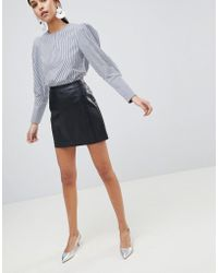 Oasis - Faux Leather Mini Skirt - Lyst