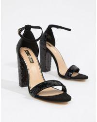 Miss Selfridge - Block Heel Sequin Sandals In Black - Lyst