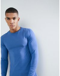 ASOS - Muscle Fit T-shirt With Long Sleeves In Blue - Lyst