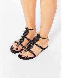 3157f2073c3 Forever Unique - Calipso Embellished Flat Sandals - Lyst