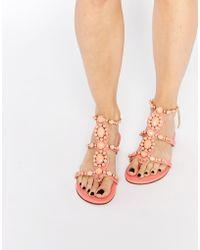 Forever Unique - Calipso Embellished Flat Sandals - Lyst
