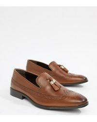 ASOS - Wide Fit Brogue Loafers In Tan Leather With Gold Tassel Detail - Lyst