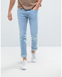 Casual Friday - Slim Fit Jeans In Light Wash Blue - Lyst