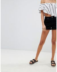 Missguided - Riot High Rise Denim Shorts - Lyst