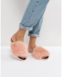 Ted Baker - Pancy Faux Fur Slide Flat Sandals - Lyst