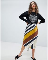 Mango - Satin Wrap Skirt With Ruffle In Stripe - Lyst