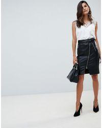 Morgan - Zip Front Midi Pu Pencil Skirt In Black - Lyst
