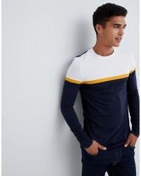 837b0f5a455a ASOS - Muscle Fit Longline Long Sleeve T-shirt With Contrast Panels In Navy  -