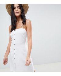 Akasa - Bandeau Button Front Beach Dress - Lyst