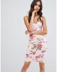 Girls On Film - Floral Bodycon Dress - Lyst