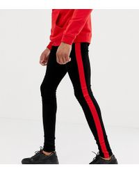 Sixth June - Super Skinny Jeans In Black With Red Side Stripe Exclusive To Asos - Lyst
