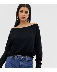 e4050b9621254 ASOS - Asos Design Tall Off Shoulder Sweatshirt With Raw Edges In Black -  Lyst