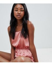 Missguided - Satin Open Back Teddy - Lyst