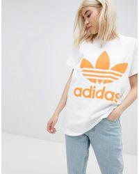 0ebed82f150f adidas Originals - Orange Trefoil Logo T-shirt In White - Lyst