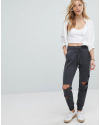Hollister - Tracksuit Pant With Distressed Knees - Lyst