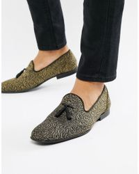 ASOS - Loafers In Black And Gold Rose Design - Lyst