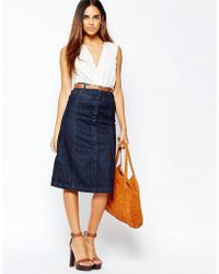 Warehouse Midi A Line Skirt in Blue | Lyst