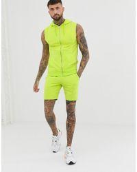 ASOS - Tuta verde acceso con felpa senza maniche con cappuccio e zip/pantaloncini skinny - Lyst