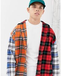 Collusion - Oversized Mixed Check Shirt With Hood - Lyst