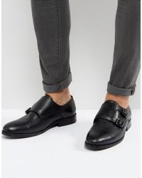 AllSaints | Leather Monkstrap Shoe | Lyst