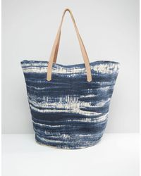Pull&Bear - Tie Dye Beach Bag With Leather Strap - Lyst