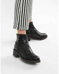 ALDO Leather Flat Ankle Boots - Black
