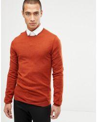 32b19d3a Lyst - ASOS Merino Wool Crew Neck Jumper In Rust Twist in Red for Men