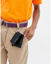 ASOS - Leather Cardholder And Zip Top Pouch With Caribiner - Lyst