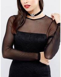 Krystal London - London Swarovski Crystal Flower On Black Velvet Choker - Lyst