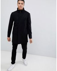 French Connection - Wool Blend Funnel Neck Coat - Lyst