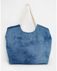South Beach - Outh Beach Beach Bag In Denim With Rope Handle - Lyst