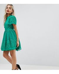ASOS - Lace Puff Sleeve Mini Dress - Lyst