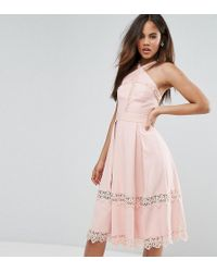 True Decadence - Premium Frill High Neck Prom Skater Dress With Lace Contrsat Inserts - Lyst