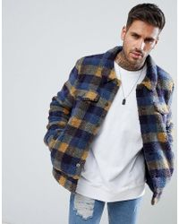 ASOS - Borg Western Jacket In Blue Check - Lyst