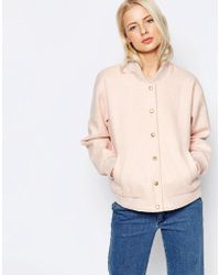 Ganni - Inglewood Pink Bomber Jacket - Lyst
