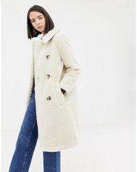 Warehouse - Longline Teddy Coat In Cream - Lyst