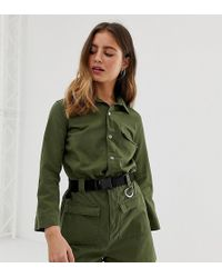 Bershka - Utility Playsuit In Green - Lyst