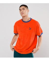 PUMA - Towelling T-shirt In Red Exclusive To Asos - Lyst
