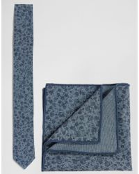 Minimum - Tie And Pocket Square Set In Floral - Lyst