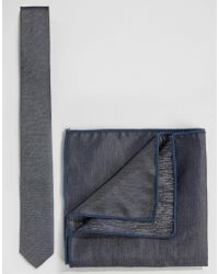 Minimum - Tie And Pocket Square Set In Chambray - Lyst