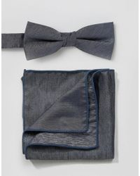 Minimum - Bow Tie And Pocket Square Set In Chambray - Lyst