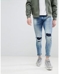 Good For Nothing - Super Skinny Jeans With Knee Repaired Rips - Lyst