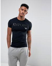 Emporio Armani - T-shirt confort inscription et logo - Lyst