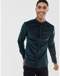 HUGO - Edies Extra Slim Fit Velvet Grandad Collar Shirt In Green - Lyst
