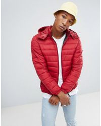 Bershka - Quilted Jacket With Hood In Red - Lyst